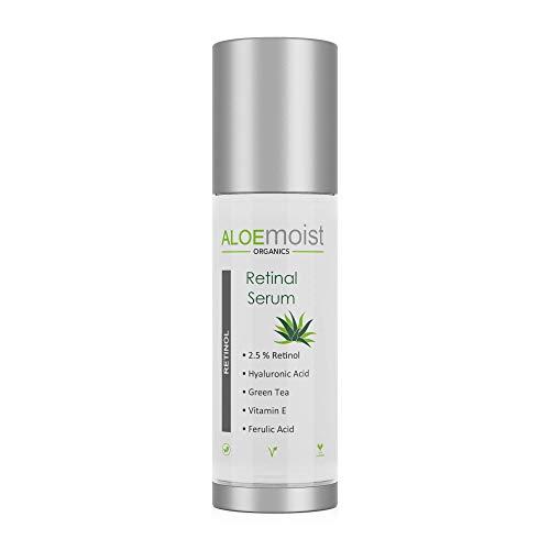 Retinol Serum 2.5% with Hyaluronic Acid, Aloe Vera, Vitamin E, Jojoba Oil - Boosts Collagen Production, Reduces Wrinkles & Fine Lines, Reduces Age Spots, Sunspots, Evens Skin Tone