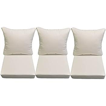 Amazon.com: Sunbrella Canvas White Cushions for Patio Outdoor Deep ...