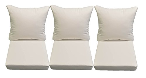 Sunbrella Canvas White Cushions for Patio Outdoor Deep Seating Furniture Sofa / Couch - Choice of Size (24