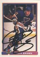 Jeff Brown, St. Louis Blues, 1991 Bowman Autographed Card