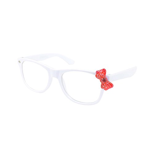 Kids Cute Kitty Cat Bow Clear & Tinted Lens Glasses Age 3-12, Clear Lens (White/Red Bow)