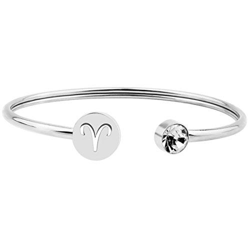 Zuo Bao Simple Zodiac Sign Cuff Bracelet with Birthstone Birthday Gift for Women Girls (Aries)