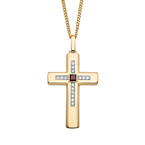 Palm Beach Jewelry Genuine Red Garnet and Cubic Zirconia 14k Gold-Plated Cross Pendant Necklace 22