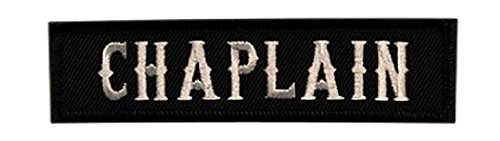 Chaplain Embroidered Iron on Sew on Patch (4.0 x 1.0 B/W)
