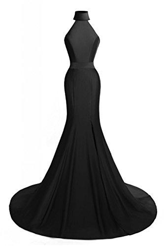 Length High Neck - MsJune Women's Mermaid Prom Gowns High Neck Split Side Formal Evening Dresses Black 6