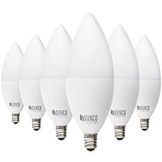 Sunco Lighting 6 Pack B11 LED Candelabra Bulb, Dusk-to-Dawn, 5W=40W, 5000K Daylight, 450 LM, E12 Base, Outdoor Decorative Light for Sconces - UL