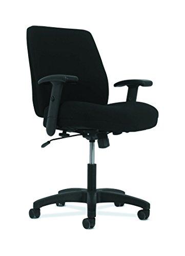 HON Network Mid-Back Task Chair - Swivel-Tilt Computer Chair for Office Desk, Black Fabric (Custom Back Swivel Arms)