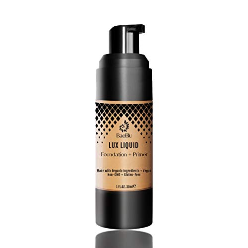 BaeBlu Organic Aloe-Based LUX Liquid Foundation, Natural Vegan Gluten-Free Made in USA, Maple (Best Full Coverage Non Comedogenic Foundation)