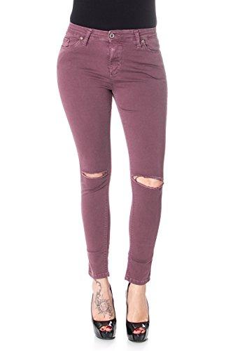 Please P19 Strappato Jeans Slim Bordeaux Skinny Donna Stretch rX7xXR