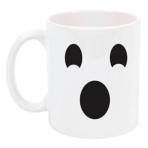 Ceramic Ghost (High Tide Mugs Ghost Emoji Halloween, Holiday Coffee Mug, Gift Ideas, Big Eyes Oval Mouth Ceramic, 11oz.)