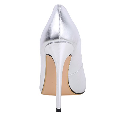 Caelse Court Slip 12CM Silver Calaier Women Pointed Heel Toe Block on Shoes zwF5Tq