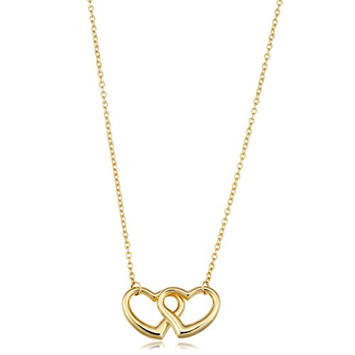 14K Yellow Gold Double Heart Pendant Necklace, 17