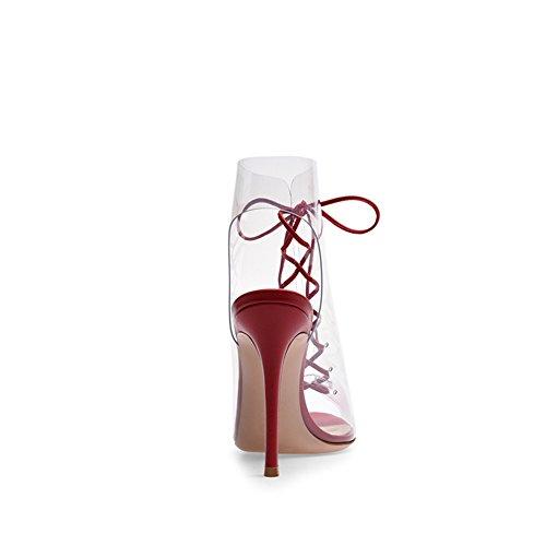 Sandali con Scarpe Slip Alto da Cinturino Donna Estate da per Tacco On e Punta New Fashion PVC Partito Il la Sera Sera C a Scarpe qzZx0O8O