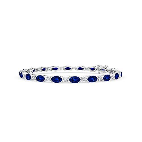 (Semi Bezel-Set Oval Sapphire and Diamond Tennis Bracelet in 14K White Gold (5x3mm Blue Sapphire))