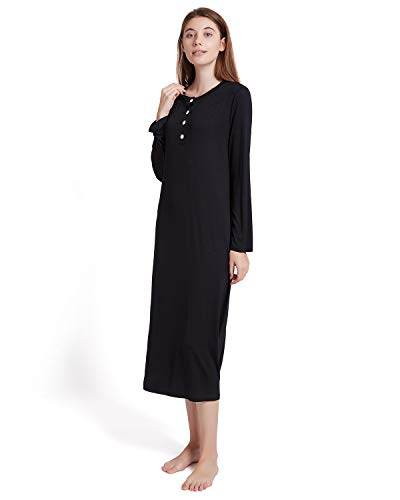 ENIDMIL Womens Casual Loose Sleep Dress Cotton Knit Long Sleeves Nightgown