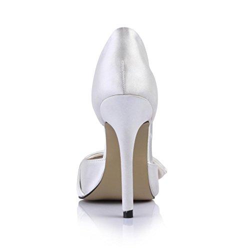 4U High Women's White Faux Heels Sole Rubber Pumps Wedding Shoes Summer Peep Best Sandals 12CM toe Silk dFfxPqdg