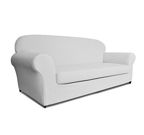 DyFun 2-Piece Knit Spandex Stretch Dining Room Sofa Slipcovers (Sofa, White)