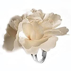 So Chic Bijoux© Anillo para mujer talla regulable, diseño de flores, color crema, tejido satinado brillante, color plateado