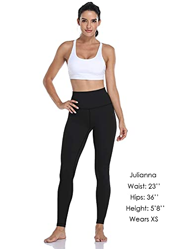 HeyNuts Hawthorn Athletic Essential II High Waisted Yoga Leggings for Tall Women, Buttery Soft Full Length Workout Pants 28'' Black S(4/6)