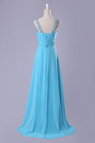 Bridal_Mall - Vestido - trapecio - Sin mangas - para mujer azul celeste