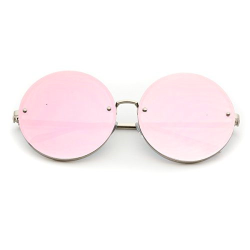 WearMe Pro - Round Mirrored Oversized Flat Lens Sunglasses (Silver Frame / Mirror Pink Lens, - Cute Round Glasses