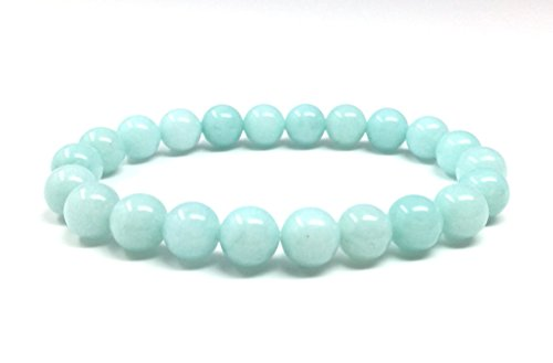 Natural Light Blue Amazonite Gemstone Bracelet 7.5 inch Stretchy Chakra Gems Stones Healing Crystal Great Gifts (Unisex) GB8B-6