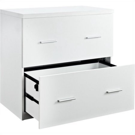 2 Drawer Lateral File Cabinet, Large Drawers, Accommodates Letter and Legal Size Documents, Organizer, Transitional Style, Home Office, Workspace, Furniture, White Color