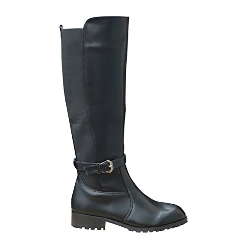 Ciara New Womens Ladies Studded Elastic Knee High Boot Black