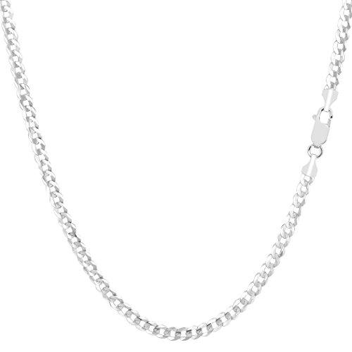 14K oro blanco collar de cadena de eslabones de comodidad, 2.7mm