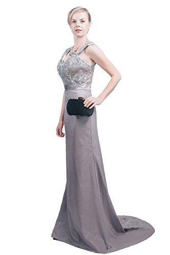 - Saint Toi Trumpet/Mermaid V Neck Floor-Length Satin Lace Evening Dress LSXF-0016C