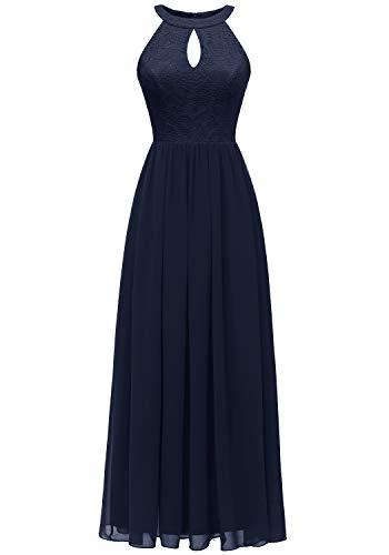 Dressystar 0048 Halter Long Formal Maxi Party Dress Evening Prom Dress 2XL Navy