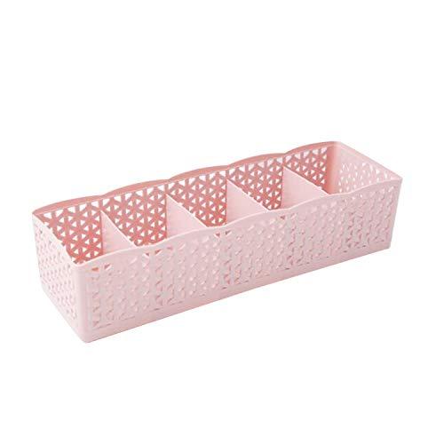 5 Cells Plastic Organizer Storage Box Tie Bra Socks Drawer Cosmetic Divider Housekeeping,Pink