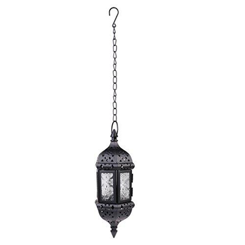 - Asenart Hanging Candle Lantern Moroccan Chandelier Retro Candle Holder Moroccan Vintage Metal Hollow Wedding Hanging Candle Holders Lantern Contain 40cm Chain (Black)