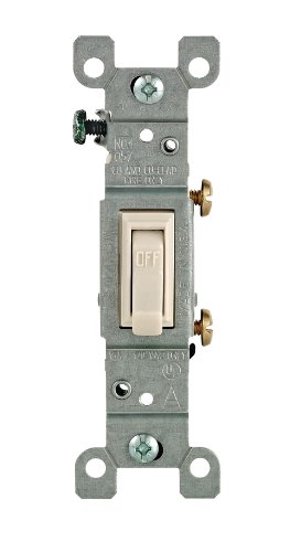 Leviton 1451-2T Framed Grounded Toggle Switch, 120 V, 15 A, 1 P, Light, 1 Count, ()