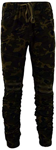 Mens Skinny Slim and Regular Fit Stretch Flex Cotton Twill Jogger Pants (Many Styles to Choose from) (M, 1612-Camouflage)