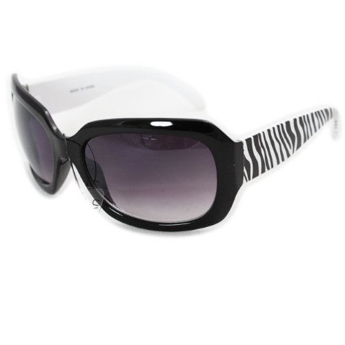 (Freestyle Sunglasses Animal Print Black White Zebra Sunglasses UV400 Lens Technology, Light Weight frame Purple Black Gradient Lens, Trendy Fashion Everyday Apparel for Women and Men )