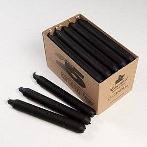 25 X Black Candles in Window Box- Long burning, non (Holland Candles)