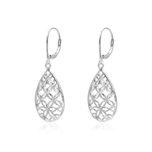 Sterling Silver Diamond-Cut Filigree Tear Drop Leverback Dangle Drop Earrings
