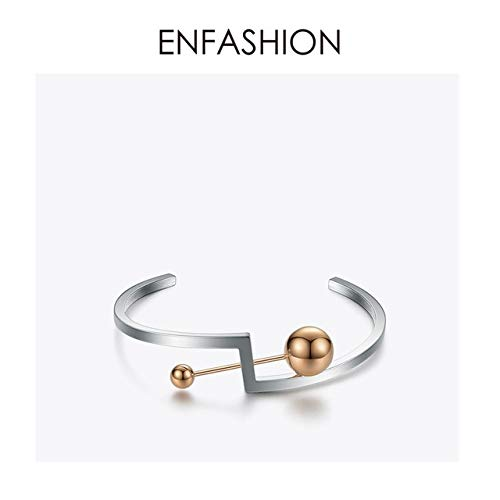 Geometric Bangles | Stainless Steel Bracelets Cuff Armbands | Metal Beads Bangles | for Women ()