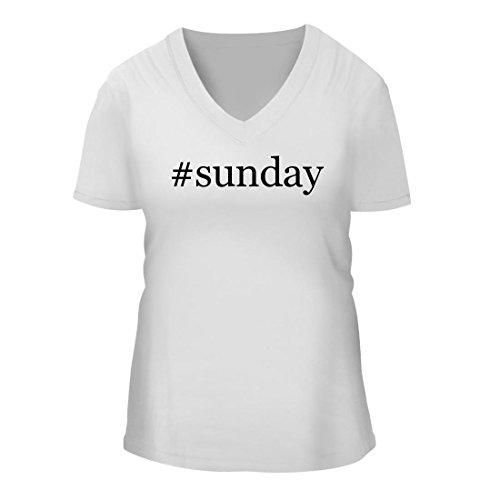 #Sunday - A Nice Hashtag Women's Short Sleeve V-Neck T-Shirt Shirt, White, Large -
