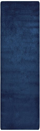 (Comfy Solid Color Runner Area Rug 26 Inch Wide x Your Choice Length In 3 Color Options Slip Skid Resistant Rubber Back (Royal Navy Blue,)