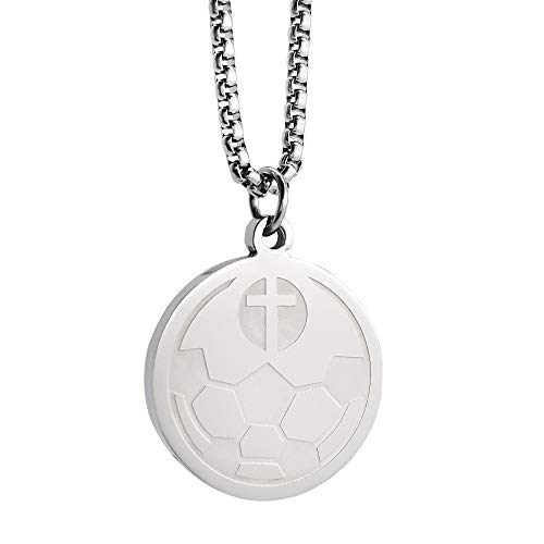 Soccer Stainless Steel Silver I CAN DO All Things Bible Verse Necklace Cross Crucifix Necklace with 23'Chain