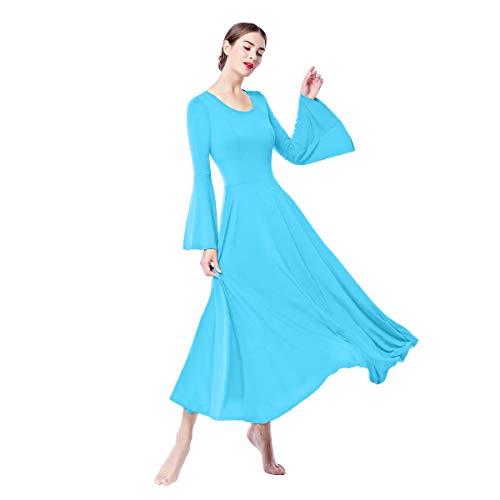 Womens Adult Liturgical Praise Lyrical Dance Dress Worship Costume Praisewear Loose Fit Full Length Asymmetrical Long Sleeve Church Circle Skirt Ballet Tunic Swing Evening Gown Blue-Bell Medium ()