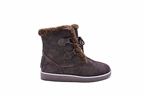 Weather Merino Chocolate Fur Boot Aussie Cold Winter Mid Calf Hiker Candace Tall Resistant Lined Wool Boot Water wpXwx1S
