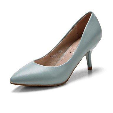Talones de las mujeres Primavera Verano Otoño Invierno Club de zapatos de la comodidad de la PU de oficina y carrera del vestido ocasional de tacón de aguja OthersBlack Azul Rosa Blanco Gris Pink