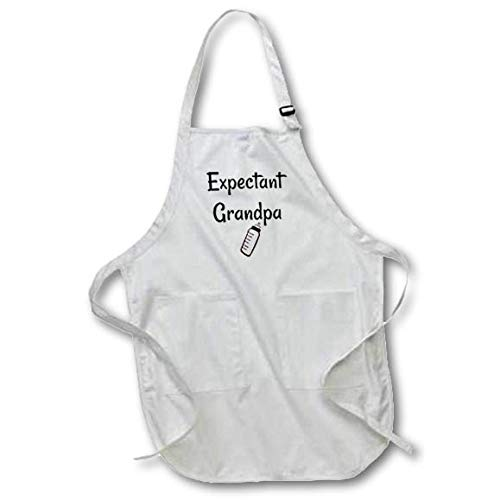 3dRose Carrie Merchant Quote - Image of Expectant Grandpa - Black Full Length Apron with Pockets 22w x 30l (apr_307184_4)
