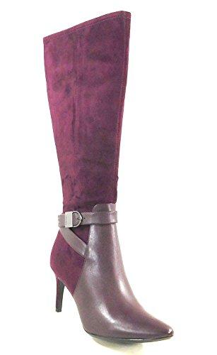Calvin Klein Women's Jemamine Oxblood Cow Silk/Microsuede Wide Calf 9.5 M US by Calvin Klein