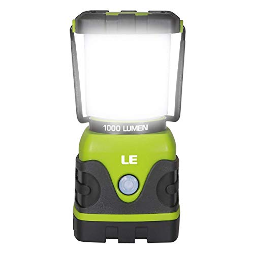 LE Portable LED Camping Lantern, 1000lm, Dimmable, 4 Lighting Modes, Battery Powered Tent Light for Home, Garden, Outdoor, Hiking, Fishing, Emergency and more -