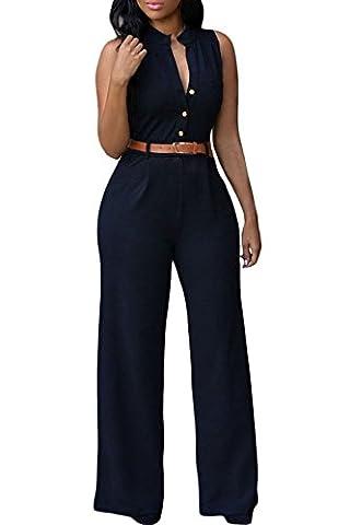 Roswear Women's Sexy Plunge V Neck Belted Wide Leg Jumpsuits Romper Black Large