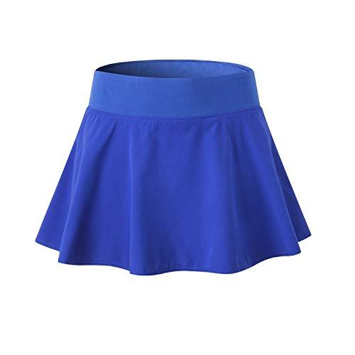 EZ-Joyce Girl's Pleated Mini Active Skort Super Light Tennis Skirt with Shorts Blue/XS]()